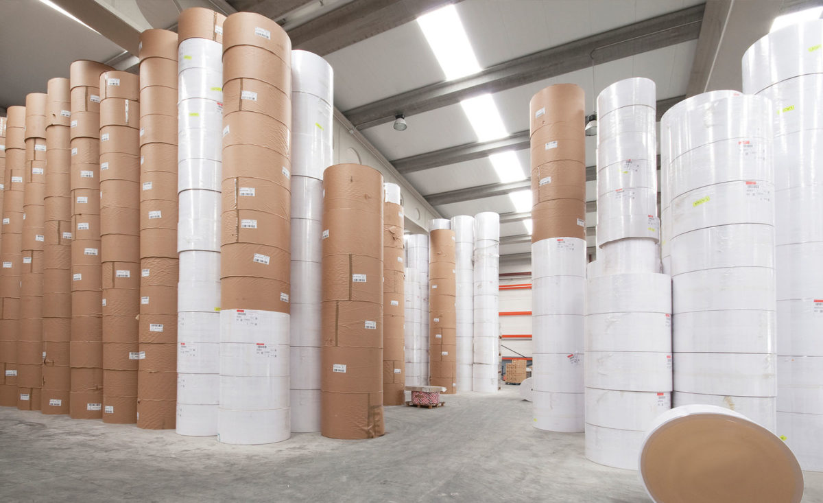 Paper Rolls in a Warehouse